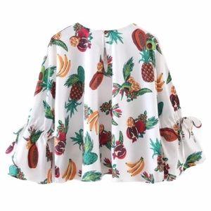 ZARA Cropped Fruit Print Blouse Embellished Sequin